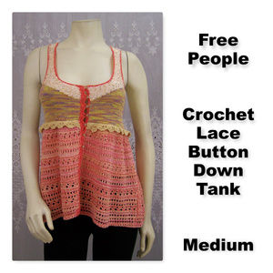 Free People Crochet Knit Lace Tank with Sequins